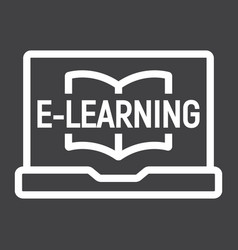 E learning line icon education and online vector