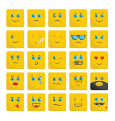 Emoticons set flat icons vector