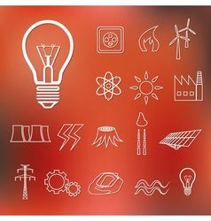 Energy outline icons vector
