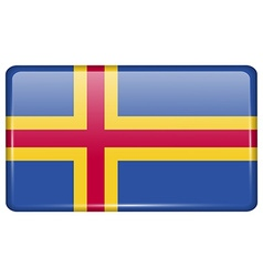 Flags Aland in the form of a magnet on vector