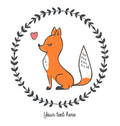 fox inside round floral frame with heart vector image
