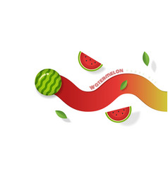 fresh watermelon fruit background paper art style vector image