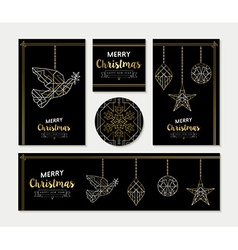 Gold Christmas greeting card template set vector image