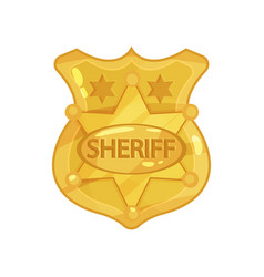 Golden cop s badge with stars and engraved word vector