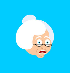 grandmother omg scared face avatar face grandma vector image