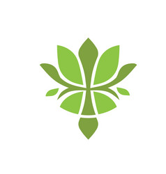 Green lotus flower logo vector