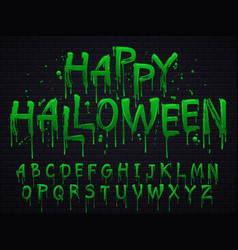 green slime font halloween toxic waste letters vector image