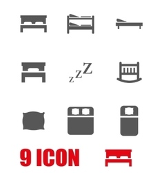 grey bed icon set vector image