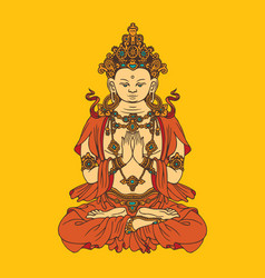 hand-drawn sitting buddha meditating in lotus pose vector image
