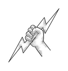 hand god with lightning sketch vector image