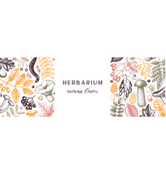 hand sketched autumn banner in color elegant vector image