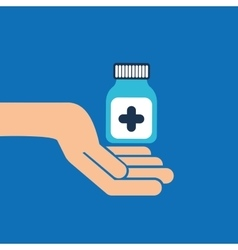 Hands bottle medicine capsule icon vector