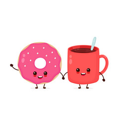 happy cute smiling donut vector image
