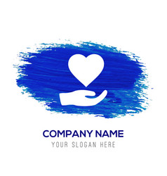 heart in hand icon - blue watercolor background vector image