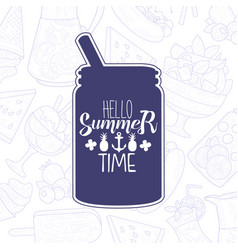 hello summer lettering with lemonade drink in vector image