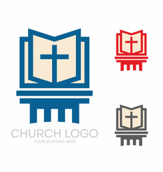 holy bible and jesus cross vector image