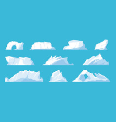 Icebergs arctic and north pole landscape elements vector