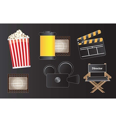 Icons movie film and cinema over black background vector