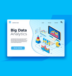 isometric big data analytics analytical vector image