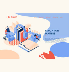 isometric learning languages concept landing page vector image