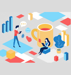 isometric people in social media communication vector image