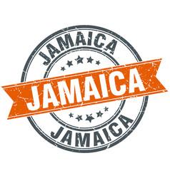Jamaica red round grunge vintage ribbon stamp vector