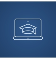 Laptop with graduation cap on screen line icon vector image