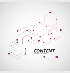line and dots connect geometric hexagon abstract vector image