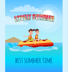 lovely summer best summertime people banana boat vector image