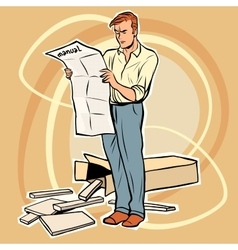 Man manual assembling furniture vector