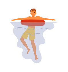 man or boy swimming in water on a lifebuoy flat vector image