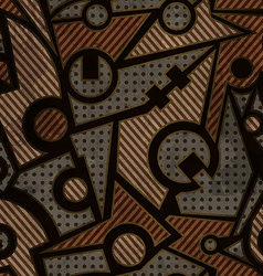mechanic geometric seamless pattern with rust vector image
