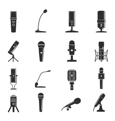 microphone icon set professional equipment for vector image