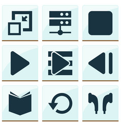 Multimedia icons set with textbook playlist stop vector