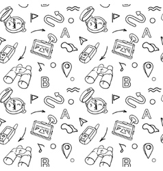 Navigation hand drawn doodles seamless pattern vector