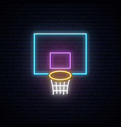 neon basketball basket sign glowing shining vector image