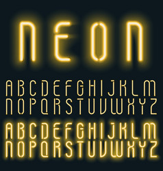 Neon golden yellow light alphabet font vector