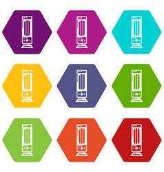 Oil heater icons set 9 vector
