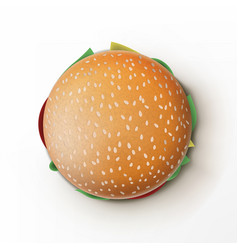 open and packed tasty burger on white background vector image