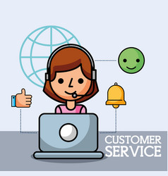 operator working in laptop customer service vector image