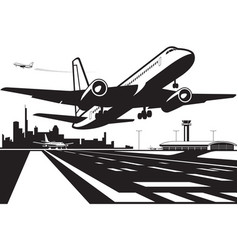 Passenger plane takes off from runway at city ai vector