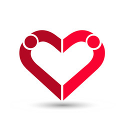 people couple creating a heart loving and caring vector image