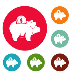 Pig money icons circle set vector