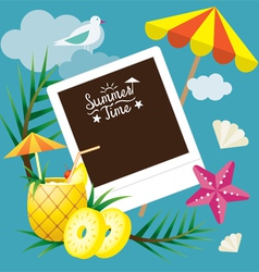 Pineapple Fruit and Summer Objects with Frame vector image