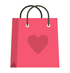 pink shopping bag with heart icon isolated vector image
