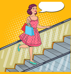 Pop art woman with shopping bags on escalator vector