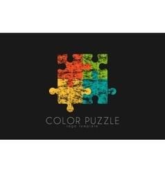 Puzzle logo Color puzzle design Creative logo vector image