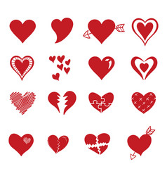 red heart icon in trendy flat style isolated on vector image