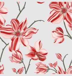 red magnolia seamless pattern repetition floral vector image