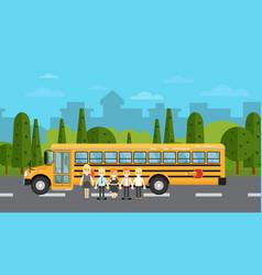 School children near school bus on highway vector